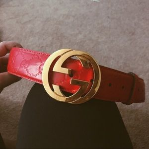 GUCCI red signature leather belt sz 95 Guccissima